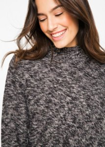 Pull col haut noirgris chin Femme Pulls col rond 91653595_4