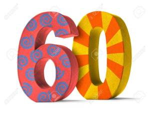 Colorful Paper Mache Number on a white background  - Number 60